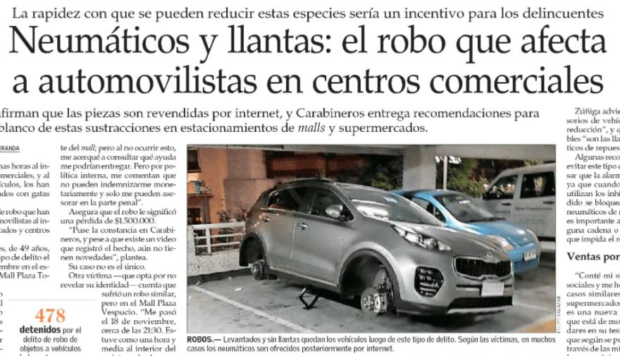 Neumáticos y llantas: el robo que afecta a automovilistas en centros comerciales